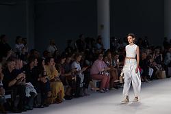 August 28, 2017 - Sao Paulo, Sao Paulo, Brazil - Model presents creation by Osklen, during the Sao Paulo Fashion Week, N44 Summer 2018 edition, in Sao Paulo, Brazil. (Credit Image: © Paulo Lopes via ZUMA Wire)