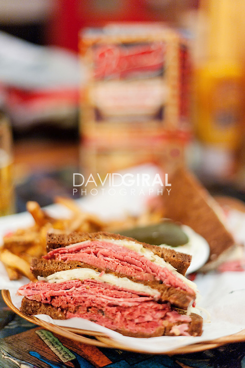 Editorial Travel Photography: club sandwich and fries at Dunn Diner restaurant, Montreal, Quebec, Canada
