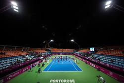 PORTOROZ, SLOVENIA - SEPTEMBER 18: Centre Court during the closing ceremony after the finals of WTA 250 Zavarovalnica Sava Portoroz at SRC Marina, on September 19, 2021 in Portoroz / Portorose, Slovenia. Photo by Nik Moder / Sportida