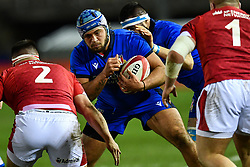 Gianmarco Lucchesi of Italy in action <br /> <br /> Photographer Craig Thomas/Replay Images<br /> <br /> U20 Six Nations - Wales v Italy  - Friday 31st January 2020 - Stadiwm Zip World (Parc Eirias) - Colwyn Bay<br /> <br /> World Copyright © Replay Images . All rights reserved. info@replayimages.co.uk - http://replayimages.co.uk