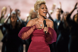 """March 4, 2018 - Hollywood, California, U.S. - Mary J. Blige performs """"Mighty River"""" from """"Mudbound"""" during the live ABC Telecast of The 90th Oscars at the Dolby Theatre in Hollywood. (Credit Image: ? Aaron Poole/AMPAS via ZUMA Wire/ZUMAPRESS.com)"""