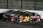 Jeff Gordon's 24 car during a NASCAR Sprint Cup series auto race, Saturday, May 10, 2014, at Kansas Speedway in Kansas City, Kan. (AP Photo/Colin E. Braley)