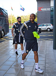 NEWPORT, WALES - Tuesday, October 7, 2014: Wales' Daniel Gabbidon arrives for training at Dragon Park National Football Development Centre ahead of the UEFA Euro 2016 qualifying match against Bosnia and Herzegovina. (Pic by David Rawcliffe/Propaganda)