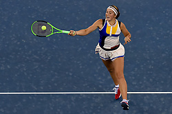 Sept. 28,  2017 -Wuhan, China- JELENA OSTAPENKO of Latvia returns the ball during the singles quarterfinal match against G. Muguruza of Spain at 2017 WTA Wuhan Open in Wuhan, capital of central China's Hubei Province. Ostapenko won 2:1. (Credit Image: © Ou Dongqu/Xinhua via ZUMA Wire)