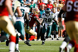 12 Oct 2008: Philadelphia Eagles FS Brian Dawkins #20 moves towards San Francisco 49ers tight end Vernon Davis #85 during the game against the San Francisco 49ers on October 12th, 2008. The Eagles won 40-26 at Candlestick Park in San Francisco, California. (Photo by Brian Garfinkel) (Photo by Brian Garfinkel)