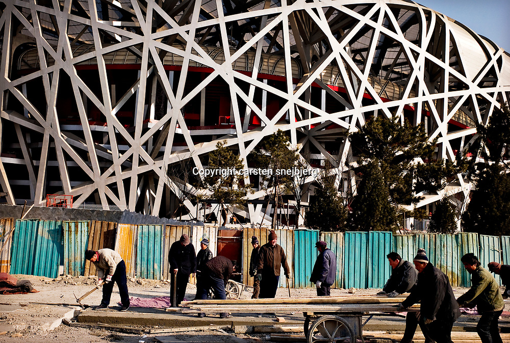 Contruction around the new dome  in Beijing, China, on tuesday 15. jan, 2008