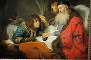 Isaac Blessing Jacob Govert Flinck (1615-1660), oil on canvas, c 1638.  The Bible recounts how Jacob, pretending to be his brother Esau, tricked their blind father into bestowing Esau's rightful blessing on him.  The idea of limiting Esau's hirsute arms by wearing animal-skin gloves came from their mother Rebecca, who looks on from behind the bed.