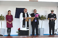 Voyages of Discovery's newly refurbished ship mv Voyager is named in Portsmouth..Naming ceremony of mv Voyager in Portsmouth, UK. L-R  Miranda Krestovnikoff, godmother of mv Voyager, Reverend Philip Hiscock, Roger Allard and Captain Neil Broomhall.