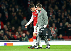 Laurent Koscielny of Arsenal leaves the field after picking up an injury - Mandatory by-line: Robbie Stephenson/JMP - 15/03/2018 - FOOTBALL - Emirates Stadium - London, England - Arsenal v AC Milan - UEFA Europa League Round of 16, Second leg