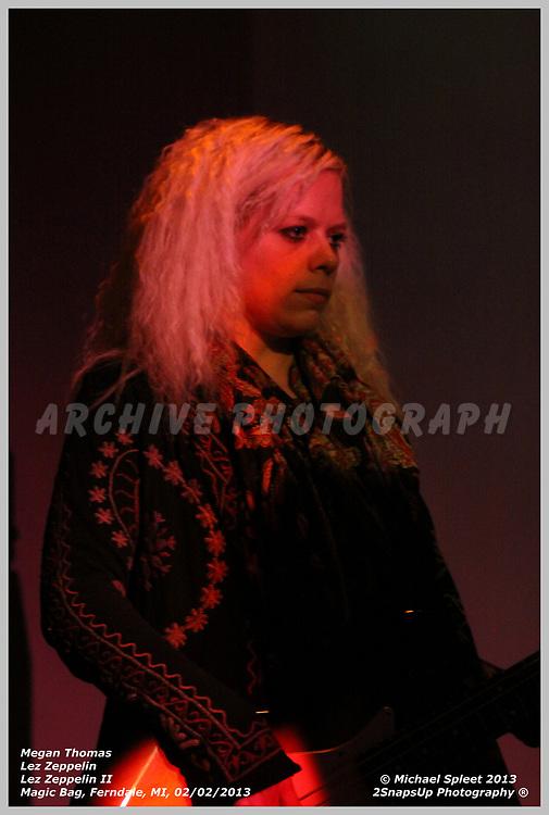 FERNDALE, MI, SATURDAY, FEB. 02, 2013: Lez Zeppelin, Led Zeppelin II Megan Thomas at Magic Bag, Ferndale, MI, 02/02/2013.  (Image Credit: Michael Spleet / 2SnapsUp Photography)