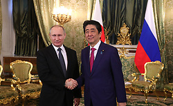 April 27, 2017 - Moscow, Russia - April 27, 2017. - Russia, Moscow. - Russian President Vladimir Putin and Japanese Prime Minister Shinzo Abe (right) during their meeting. (Credit Image: © Russian Look via ZUMA Wire)