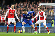 Eden Hazard of Chelsea © turns past Nacho Monreal of Arsenal (r) Premier league match, Chelsea v Arsenal at Stamford Bridge in London on Saturday 4th February 2017.<br /> pic by John Patrick Fletcher, Andrew Orchard sports photography.