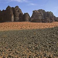 Desert landscape near (mount) Jebel Khaz Ali, Wadi Rum, Jordan.