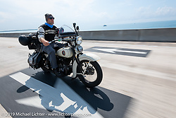 Tom Banks riding his 1936 Harley-Davidson VLH Flathead through the Keys in the final leg of the Cross Country Chase motorcycle endurance run from Sault Sainte Marie, MI to Key West, FL. (for vintage bikes from 1930-1948). Stage-10 covered 110 miles from Miami to the finish in Key West, FL USA. Sunday, September 15, 2019. Photography ©2019 Michael Lichter. Cross Country Chase motorcycle endurance run from Sault Sainte Marie, MI to Key West, FL. (for vintage bikes from 1930-1948). Stage-10 covered 110 miles from Miami to the finish in Key West, FL USA. Sunday, September 15, 2019. Photography ©2019 Michael Lichter.