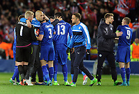 Football - 2016 / 2017 UEFA Champions League - Quarter-Final, Second Leg: Leicester City vs. Atletico Madrid<br /> <br /> Leicester Players console each other at the final whistle at the King Power Stadium.<br /> <br /> COLORSPORT/ANDREW COWIE