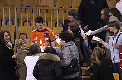 Fans of ACH players and Mitja Gasparini after 8th final volleyball match of CEV Indesit Champions League Men 2008/2009 between ACH Volley Bled (SLO) and Zenit Kazan (RUS), on February 12, 2009 in Hall Tivoli, Ljubljana, Slovenia. (Photo by Vid Ponikvar / Sportida)