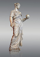 Second century AD Roman statue of Urania holding, the muse of atronomy holding  a globe, the statue was restored from two separte staues of the period, inv 293, Vatican Museum Rome, Italy,  grey background ..<br /> <br /> If you prefer to buy from our ALAMY STOCK LIBRARY page at https://www.alamy.com/portfolio/paul-williams-funkystock/greco-roman-sculptures.html . Type -    Vatican    - into LOWER SEARCH WITHIN GALLERY box - Refine search by adding a subject, place, background colour, museum etc.<br /> <br /> Visit our CLASSICAL WORLD HISTORIC SITES PHOTO COLLECTIONS for more photos to download or buy as wall art prints https://funkystock.photoshelter.com/gallery-collection/The-Romans-Art-Artefacts-Antiquities-Historic-Sites-Pictures-Images/C0000r2uLJJo9_s0c