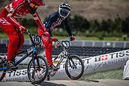 Women Elite #210 (CHRISTENSEN Simone Tetsche) DEN and Women Elite #1 (WILLOUGHBY Alise) USA at the 2018 UCI BMX World Championships in Baku, Azerbaijan.