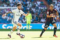 "Real Madrid's player Francisco Roman ""Isco"" and Eibar FC's player Sergi Enrich during a match of La Liga Santander at Santiago Bernabeu Stadium in Madrid. October 02, Spain. 2016. (ALTERPHOTOS/BorjaB.Hojas)"