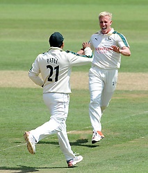 Nottinghamshire's Luke Wood celebrates the wicket of Somerset's Johann Myburgh. - Photo mandatory by-line: Harry Trump/JMP - Mobile: 07966 386802 - 15/06/15 - SPORT - CRICKET - LVCC County Championship - Division One - Day Two - Somerset v Nottinghamshire - The County Ground, Taunton, England.