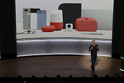 Rick Osterloh, Google senior vice president of hardware, unveils the company's new line of hardware, Wednesday, October 4, 2017, at the SFJazz Center in San Francisco, CA, USA. Photo by Karl Mondon/Bay Area News Group/TNS/ABACAPRESS.COM