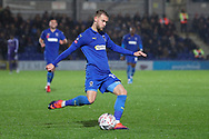 AFC Wimbledon attacker Shane McLoughlin (19) passing the ball during the The FA Cup match between AFC Wimbledon and Doncaster Rovers at the Cherry Red Records Stadium, Kingston, England on 9 November 2019.