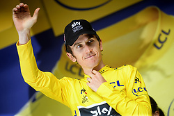 July 27, 2018 - Laruns, FRANCE - British Geraint Thomas of Team Sky celebrates on the podium in the yellow jersey of leader in the overall ranking after the 19th stage of the 105th edition of the Tour de France cycling race, 200,5km from Lourdes to Laruns, France, Friday 27 July 2018. This year's Tour de France takes place from July 7th to July 29th. BELGA PHOTO YORICK JANSENS (Credit Image: © Yorick Jansens/Belga via ZUMA Press)
