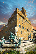 The Fountain of Neptune by Bartolomeo Ammannati (1575), in front of the Palazzo Vecchio ,  Piazza della Signoria in Florence, Italy, .<br /> <br /> Visit our ITALY PHOTO COLLECTION for more   photos of Italy to download or buy as prints https://funkystock.photoshelter.com/gallery-collection/2b-Pictures-Images-of-Italy-Photos-of-Italian-Historic-Landmark-Sites/C0000qxA2zGFjd_k<br /> .<br /> <br /> Visit our EARLY MODERN ERA HISTORICAL PLACES PHOTO COLLECTIONS for more photos to buy as wall art prints https://funkystock.photoshelter.com/gallery-collection/Modern-Era-Historic-Places-Art-Artefact-Antiquities-Picture-Images-of/C00002pOjgcLacqI