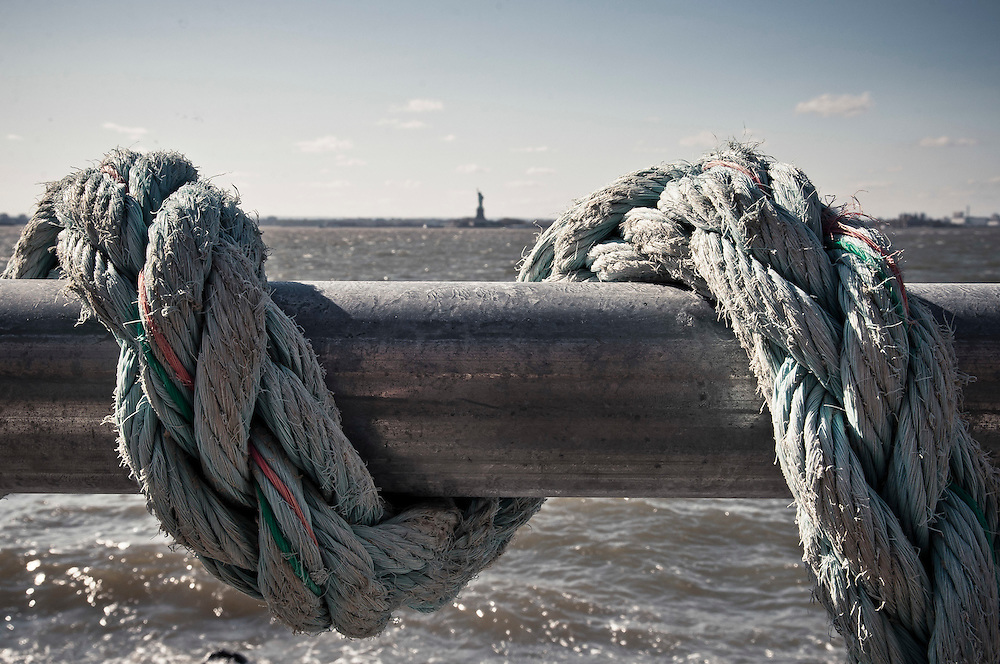 Old rope on Red Hook's waterfront, facing the Statue of Liberty, Brooklyn