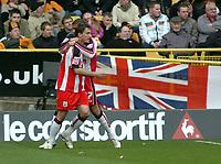 Photo: Kevin Poolman.<br />Wolverhampton Wanderers v Southampton. Coca Cola Championship. 31/03/2007. Marek Saganowski (L) and Leon Best celebrate Southampton's first goal.