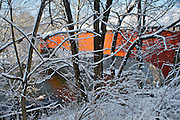 Winter Snow, Berks Co., PA Scene Wertz Red Bridge, Tulpehocken Creek