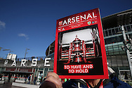 an Official Arsenal vs Burnley match programme is displayed outside Emirates Stadium before k/o. The Emirates FA cup, 4th round match, Arsenal v Burnley at the Emirates Stadium in London on Saturday 30th January 2016.<br /> pic by John Patrick Fletcher, Andrew Orchard sports photography.