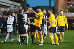 Falkirk's Jonathan Flynn points to Dunfermline's Jordan McMillan after Dunfermline's Josh Falkingham tackle on Falkirk's Thomas Grant..Dunfermline 0 v 1 Falkirk, 26/12/2012..©Michael Schofield.