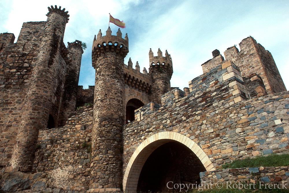 SPAIN, CASTILE and LEON Templar castle, 14C, in Ponferrada, west of Leon