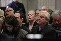 October 5, 2018 - Chicago, IL, USA - Chicago police Officer Jason Van Dyke's wife, Tiffany, watches as the verdicts are read in his trial for the shooting death of Laquan McDonald, at the Leighton Criminal Court Building on Friday, Oct. 5, 2018. Van Dyke was convicted of second-degree mruder and 16 counts of aggravated battery. (Credit Image: © Antonio Perez/Chicago Tribune/TNS via ZUMA Wire)