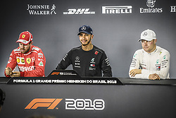 November 10, 2018 - Sao Paulo, Brazil - HAMILTON Lewis (gbr), Mercedes AMG F1 Petronas GP W09 Hybrid EQ Power+, portrait , VETTEL Sebastian (ger), Scuderia Ferrari SF71H, portrait , BOTTAS Valtteri (fin), Mercedes AMG F1 Petronas GP W09 Hybrid EQ Power+, portrait , pole position  during the 2018 Formula One World Championship, Brazil Grand Prix from November 08 to 11 in Sao Paulo, Brazil - Photo Eric Vargiolu / DPPI. Motorsports: FIA Formula One World Championship 2018, Grand Prix of Brazil World Championship;2018;Grand Prix;Brazil ,  #77 Valtteri Bottas (FIN, Mercedes AMG Petronas), #44 Lewis Hamilton (GBR, Mercedes AMG Petronas F1 Team),  , #5 Sebastian Vettel (GER, Scuderia Ferrari) (Credit Image: © Hoch Zwei via ZUMA Wire)