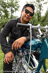BF11 invited builder Ben Zales with his custom 1963 Harley-Davidson Panhead at the Born Free Motorcycle Show (BF11) at Oak Canyon Ranch, Silverado  CA, USA. Saturday, June 22, 2019. Photography ©2019 Michael Lichter.