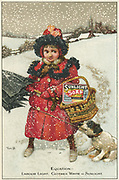 Trade card for Sunlight soap, c1900.  Little girl carries a shopping basket of Sunlight soap home through the snow.   The message is purity, whiteness and less labour.  The soap was manufactured by Lever Brothers at their factory at Port Sunlight on the Mersey, near Liverpool, England. Illustration by Tom Browne (1872-1910), English painter and illustrator. Chromolithograph.