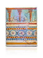 """The Minoan """"Three columned Shrine"""" minture fresco Knossos-Palace, 1700-1450 BC . Heraklion Archaeological Museum.,white background<br /> <br /> <br /> The freco depicts a portico with columns on which double axes are fixed, separated by horns of consecration, on a balustrade decorated with rosettes .<br /> <br /> If you prefer to buy from our ALAMY PHOTO LIBRARY  Collection visit : https://www.alamy.com/portfolio/paul-williams-funkystock/minoan-art-artefacts.html . Type -   Heraklion   - into the LOWER SEARCH WITHIN GALLERY box. Refine search by adding background colour, place, museum etc<br /> <br /> Visit our MINOAN ART PHOTO COLLECTIONS for more photos to download  as wall art prints https://funkystock.photoshelter.com/gallery-collection/Ancient-Minoans-Art-Artefacts-Antiquities-Historic-Places-Pictures-Images-of/C0000ricT2SU_M9w"""