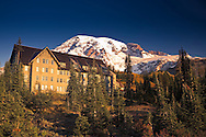 Morning alpenglow lights the Paradise Inn, built in 1916 and recently renovated in Mount Rainier National Park, WA, USA.