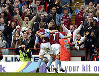 Photo: Richard Lane.<br /> Aston Villa v Chelsea. Barclaycard Premiership. 12/04/2004.<br /> Villa fans go wild as Lee Hendrie celebrates with Thomas Hitzlsperger.