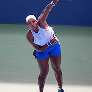 2019 US Open Tennis Tournament- Day Six.  Taylor Townsend of the United States in action against Sorana Cirstea of Romania in the Women's Singles Round three match on Louis Armstrong Stadium Stadium during the 2019 US Open Tennis Tournament at the USTA Billie Jean King National Tennis Center on August 31st, 2019 in Flushing, Queens, New York City.  (Photo by Tim Clayton/Corbis via Getty Images)