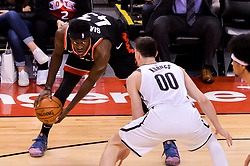 February 11, 2019 - Toronto, Ontario, Canada - Pascal Siakam #43 of the Toronto Raptors with the ball looks at his rivals during the Toronto Raptors vs Brooklyn Nets NBA regular season game at Scotiabank Arena on February 11, 2019, in Toronto, Canada (Toronto Raptors win 127-125) (Credit Image: © Anatoliy Cherkasov/NurPhoto via ZUMA Press)