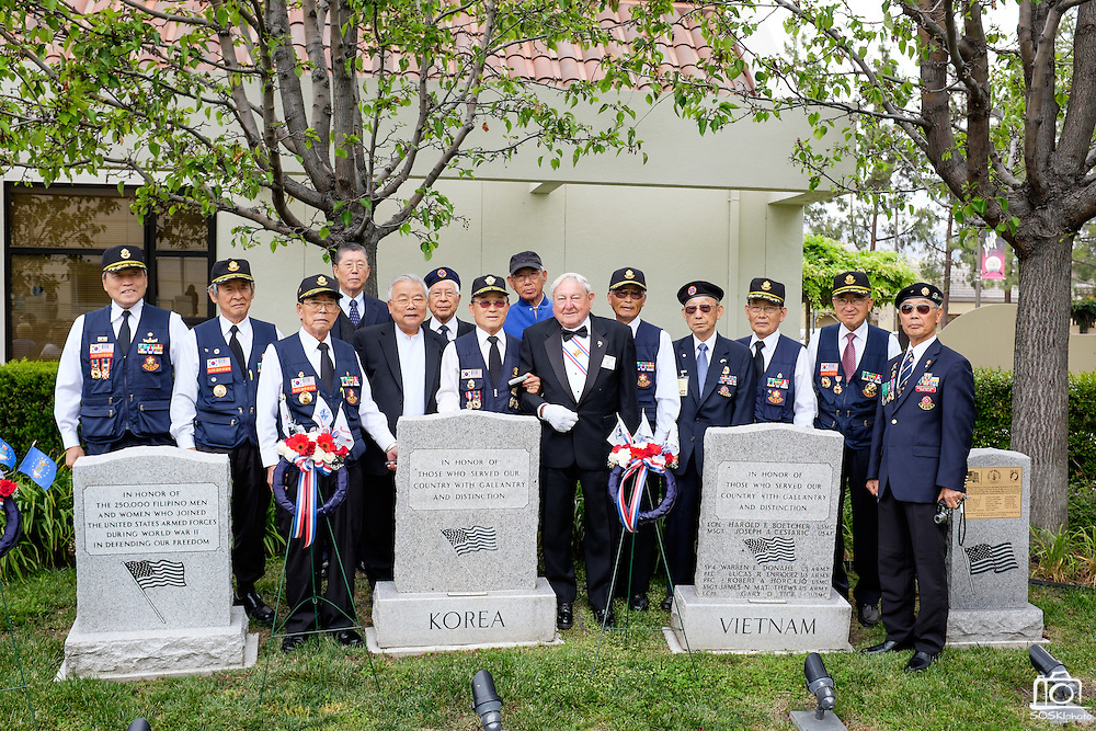 Members of the Korean War Veterans Association of Northern California pose for a photo during the Memorial Day Ceremony at City Hall in Milpitas, California, on May 25, 2015. (Stan Olszewski/SOSKIphoto)