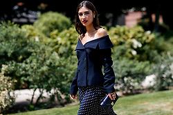 Street style, Patricia Manfield arriving at Dior Fall-Winter 2018-2019 Haute Couture show held at Musee Rodin, in Paris, France, on July 2nd, 2018. Photo by Marie-Paola Bertrand-Hillion/ABACAPRESS.COM