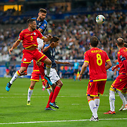PARIS, FRANCE - September 10: Olivier Giroud #9 of France heads goal wards while deferred by Marc Vales #3 of Andorra during the France V Andorra, UEFA European Championship 2020 Qualifying match at Stade de France on September 10th 2019 in Paris, France (Photo by Tim Clayton/Corbis via Getty Images)