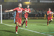 Adam Priestley of Alfreton Town celebrates his teams first goal, 1-1, during the The FA Cup match between Newport County and Alfreton Town at Rodney Parade, Newport, Wales on 15 November 2016. Photo by Andrew Lewis.
