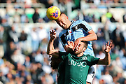 Sergej Milinkovic Savic of Lazio (Up) goes for a header during the Italian championship Serie A football match between SS Lazio and Bologna FC at Stadio Olimpico, Saturday, Feb. 29, 2020, in Rome, Italy.(Federico Proietti-ESPA-Images/Image of Sport)
