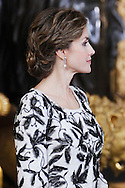 Queen Letizia of Spain attended Spain's National Day royal reception at Royal Palace in Madrid on October 12, 2016 in Madrid, Spain.