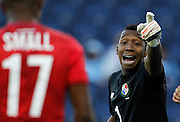 Panama goal keeper Elieser Powell (1) communicates with his teammates before a corner kick in the first half of a CONCACAF men's Olympic qualifying soccer match against Cuba, Thursday, Oct. 1, 2015, in Kansas City, Kan. The  match ended in a 1-1 draw. (AP Photo/Colin E. Braley)
